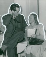 """Karl Ragnar Gierow, author of """"Lust of Love"""" discusses the play with Inga Tidblad, who holds the female lead role"""