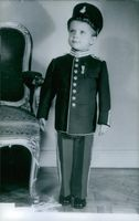 Gustaf VI Adolf when he was young wearing a soldier uniform, 1949.