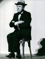 A picture of Fernand Raynaud, performing his act. April 27, 1970