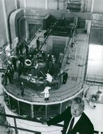 Research reactor R2 in Studsvik. Master of Science Robert Skjöldebrand with the reactor as a background
