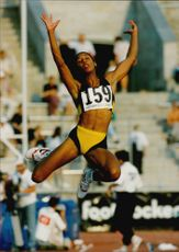 Goodwill Games. Sheila Echols from the United States is jumping