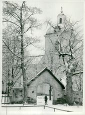 The church in Säter, dressed in winter showers