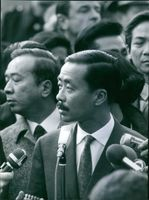Nguyễn Cao Kỳ at the microphone during the press conference in Paris. 1968.