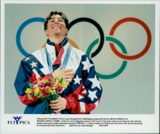 Jonny Moseley, USA, during the medal ceremony just before receiving his gold medal in freestyle skiing at the Winter Olympics in 1998.