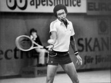 American tennis player Arthur Ashe during the Stockholm Open 1978