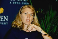Portrait image of Steffi Graf taken at a press conference during the US Open.