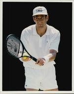 French tennis player Guy Forget is getting ready to serve