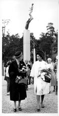 Queen Sirikit along with Queen Louise during the visit Millesgården