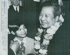 Prince Norodom Sihanouk is welcomed at Washington Dulles International Airport