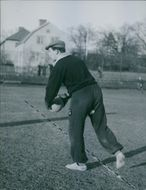 A photo of man training in football, 1944