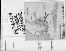 A newspaper clip showing a map of Sweden's increased radioactivity after the Chernobyl accident