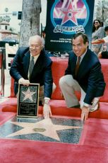 George Gershwin's sibling Marc George Gershwin and Michael S. Strunksy at the composer's Walk of Fame star