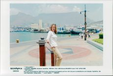 German tennis player Steffi Graf in South Africa with the Cape Town in the background