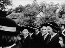 Princess Anne with her friends at school.