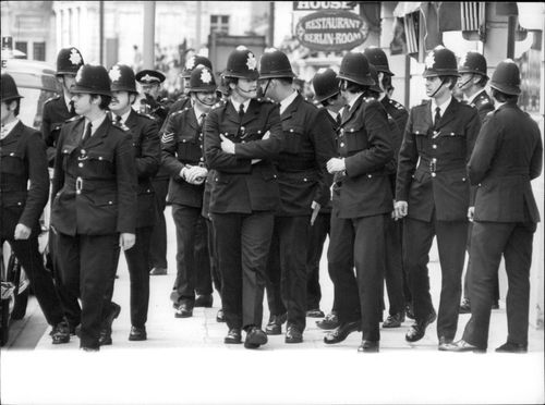 Some of London's police officers headed for a monitoring mission.