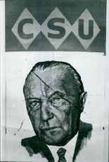 Sketch of Konrad Adenauer.