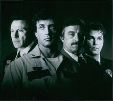 Harvey Keitel, Sylvester Stallone, Robert De Niro and Ray Liotta in the film Cop Land, 1997.