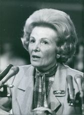 U.S. government official, Leonore Annenberg giving speech, 1981.