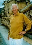 The Norwegian explorer Thor Heyerdahl in front of the papyrus ship RA II