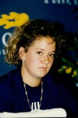 Portrait image of Patty Schneider taken at the press conference after defeating Steffi Graf, Germany, in the fourth round of the US Open.