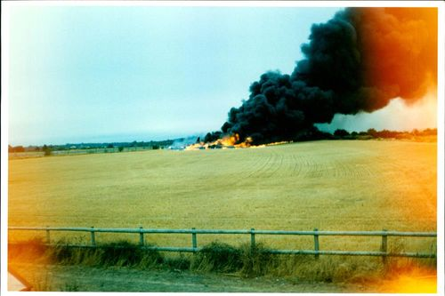 Aircraft crash:the burning wreckage.