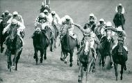Dancing Brave and Shahrastani with Jockeyn Walter Swinburn approaches the finish line at Epsom