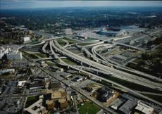 Aerial view of the highways.