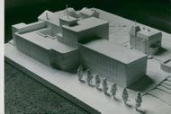 Model at Tobacco Monopoly in Södertälje. Emil Lindkvist's proposal for the new cigarette factory