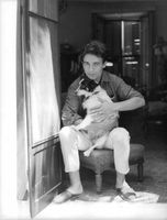 Jacques Charrier with his dog.