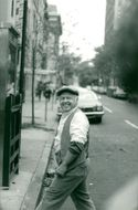 """Mickey Rooney during the recording of a street scene near the restaurant """"Le Relais"""" on Madison Avenue in Manhattan"""