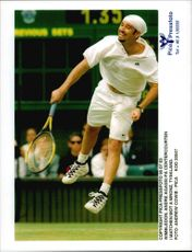 Andre Agassi competes during the Wimbledon competition.