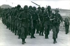A Platoon of soldieres marching in Vietnam. May 13, 1965