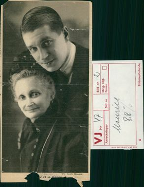 French actor and singer Maurice Chevalier with his mother, Joséphine Van Den Bossche.