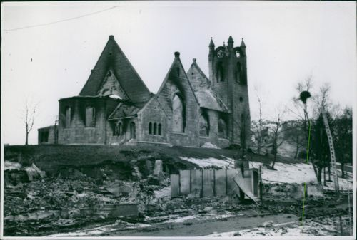 War damages in Namsos, Norway after the German bombing. 1940