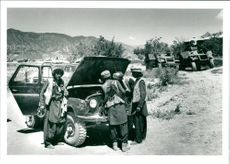 Captured jeep and equipment at chawni fort which the soviet and afghan army left on may 15th.