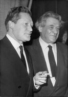 Writer Maurice Druon with his uncle Joseph Kessel during reception after being elected member of the French Academy