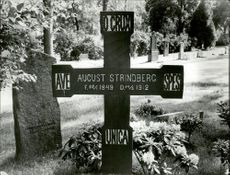 August Strindberg's tomb at the northern burial ground in Solna.