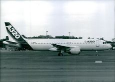 The A320 Airbus on the runway.