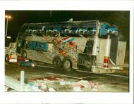 The Beaune coach crash:road employees work on the damaged
