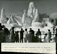 The magnificent snow sculptures, made by Japanese military, attracted many visitors during the Sapporo OS.