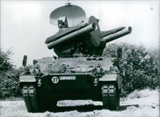West German armour, Roland tank complete with twin rocket launching tubes, 1981.