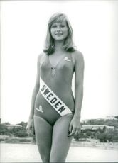 Miss Sweden Monica Sundin, candidate for Miss Universe 1973, in swimwear.  - Jul 1973