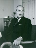 A  photo of Burmese diplomat and the third Secretary-General of the United Nations Thant, known honorifically as U Thant.