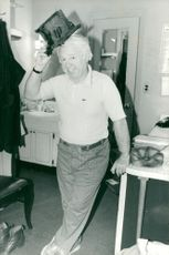 Mickey Rooney in his lodge at Mark Hellinger Theater