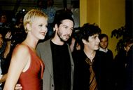 "Actors Charlize Theron, Keanu Reeves and Al Pacino at the premiere of the movie ""Devil's Lawyer"""