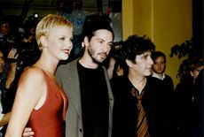 """Actors Charlize Theron, Keanu Reeves and Al Pacino at the premiere of the movie """"Devil's Lawyer"""""""