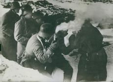 German infantry learns the findings of the reconnaissance aviator. 1914.