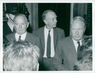 Mr. Selwyn Lloyd, Sir Alec Douglas-Home and Mr. Edward Heath off no. 10 Downing Street