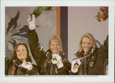 The medalists in the Alpine Combination at Nagano OS 1998.