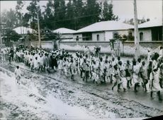 Troops March To Resist Invaders. 1935